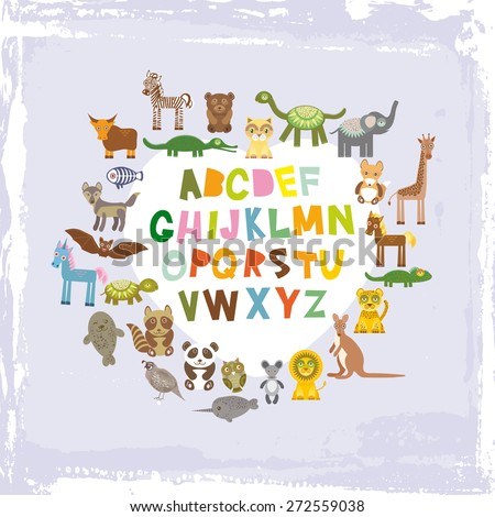 alphabet for kids from A to Z. Set of funny cartoon animals character. zoo on blue grunge background. Vector - stock vector