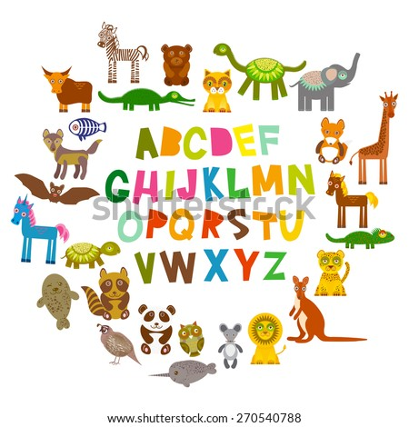 alphabet for kids from A to Z. Set of funny cartoon animals character. zoo on white background. Vector - stock vector