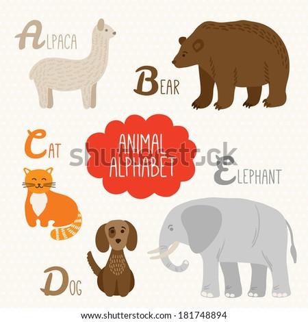 Alphabet for kids with animals. Letters A, B, C, D, E. Alpaca, Bear, Cat, Dog, Elephant - stock vector