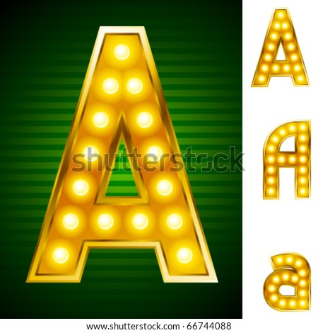 Alphabet for signs with lamps. Letter a