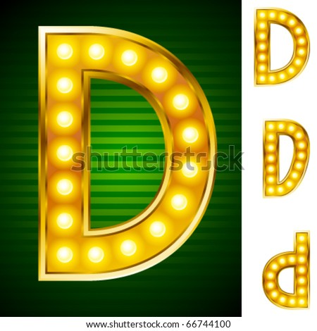 Alphabet for signs with lamps. Letter d
