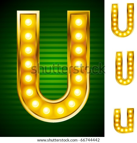 Alphabet for signs with lamps. Letter u