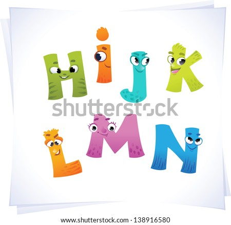Alphabet for the kids: funny letters cartoon H-N - stock vector