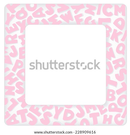 Alphabet frame square pastel pink letter stock vector 228909616 alphabet frame square pastel pink letter border with copy space for baby books albums solutioingenieria Image collections