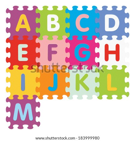 Alphabet from A to M written with puzzle - vector illustration - stock vector