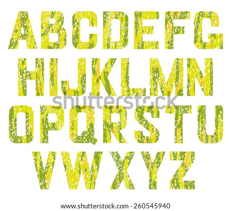 Alphabet green pastel vector set. English alphabet