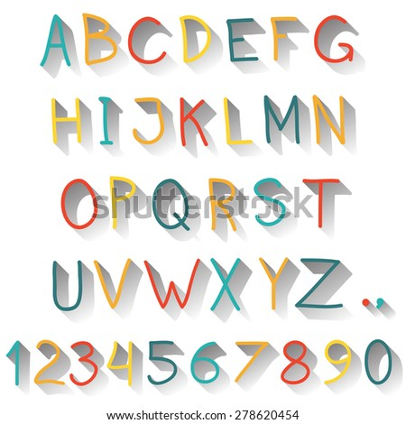 Alphabet. Hand drawn letters and numbers isolated on white background. Colorful vector illustration. - stock vector