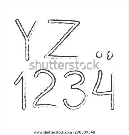 Alphabet. Hand drawn letters and numbers isolated on white background. Vector illustration. - stock vector