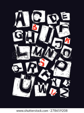 Alphabet. hand drawn vector. - stock vector