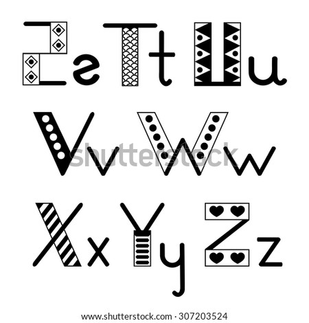 Alphabet hand-drawn white and black vector set. Letters S-Z - stock vector