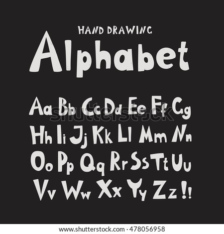 Alphabet. Individual hand-drawing characters. Template for design. Letters. The bright characters on a dark background