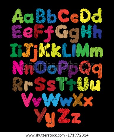 Alphabet kids doodle colored hand drawing in black background - stock vector