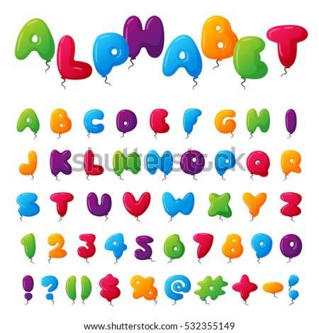 Alphabet Kids Font Vector Set Multicolored Stock Vector ...