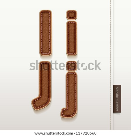 Alphabet Leather Skin Texture. vector illustration. More leather typeface style in my portfolio. - stock vector