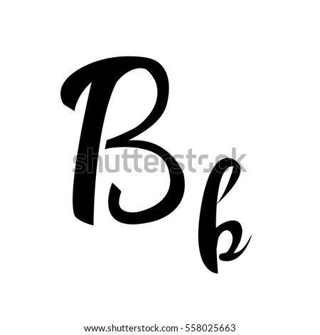 Alphabet Letter B Lettering Vector Calligraphy Manuscript
