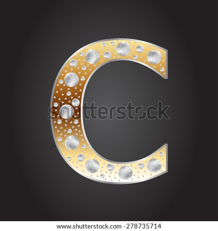 Alphabet letter C with diamonds.Abstract logo C.Vector illustration. - stock vector