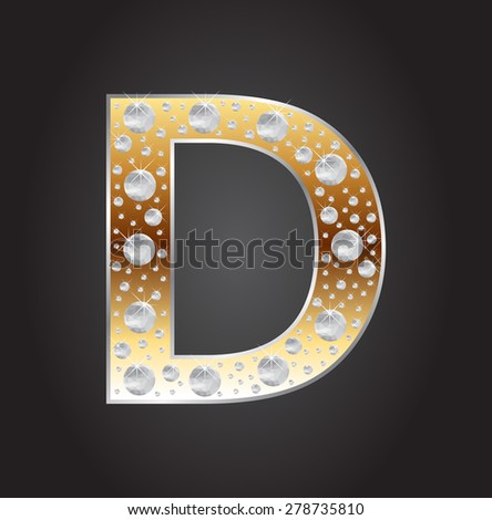 Alphabet letter D with diamonds.Abstract logo D.Vector illustration. - stock vector