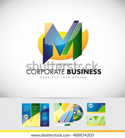 Alphabet letter m vector logo icon stock photo photo vector alphabet letter m vector logo icon design corporate identity set cd brochure business card gloss glossy reheart Images