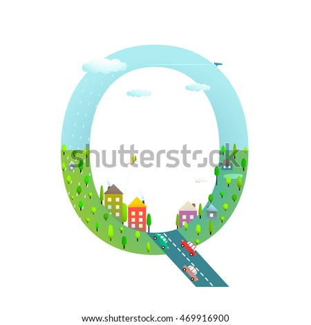 Alphabet Letter Q Cartoon Flat Style for Kids. Fun alphabet letter for children boys and girls with city, houses, cars, trees. Learning, teaching, studying abc, flat style. Vector illustration