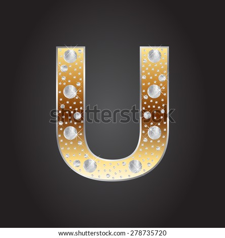 Alphabet letter U with diamonds.Abstract logo U.Vector illustration. - stock vector