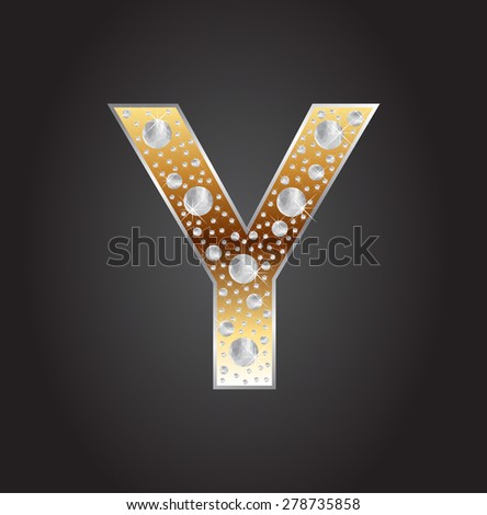 Alphabet letter Y with diamonds.Abstract logo Y.Vector illustration. - stock vector