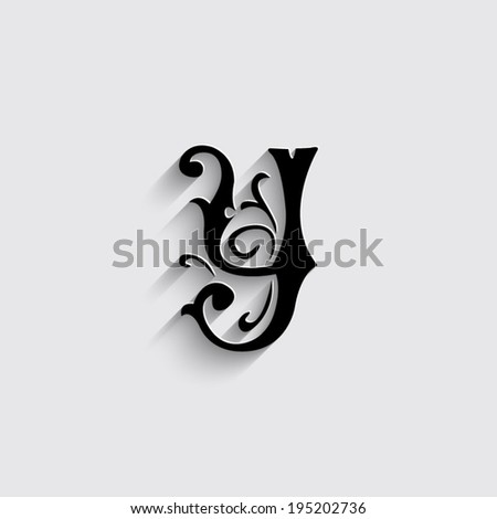Alphabet Letter Y With Shadow On A Grey Background