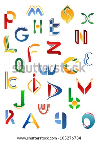 Alphabet letters and icons isolated on white background from A to Z, such logo. Jpeg version also available in gallery