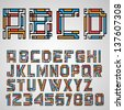 Alphabet letters and numbers in Mayan style. Vector eps10 - stock