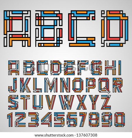 Alphabet letters and numbers in Mayan style. Vector eps10 - stock vector