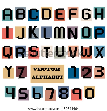 Alphabet letters and numbers. Vector set