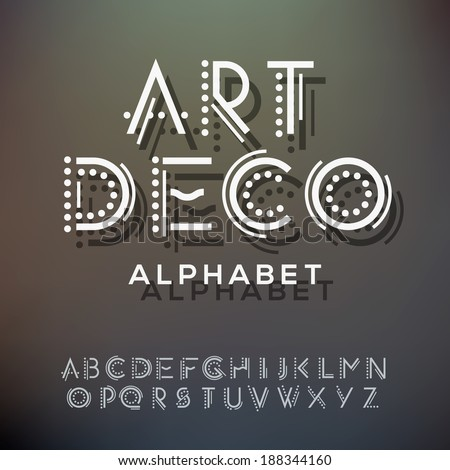 Alphabet letters collection, art deco style, vector illustration.  - stock vector