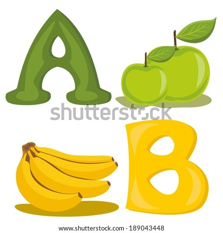 Alphabet letters for the kids A, B - stock vector