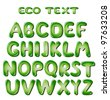 Alphabet letters in green colors - stock vector