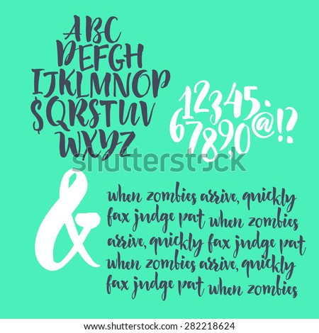 Alphabet letters: lowercase, uppercase and numbers. Vector alphabet. Hand drawn letters. Letters of the alphabet written with a paint brush - stock vector