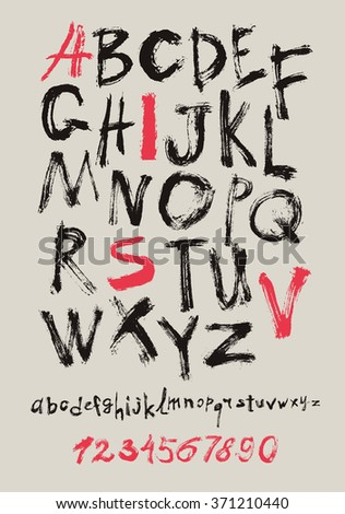 Alphabet letters lowercase, uppercase and numbers. Vector alphabet. Hand drawn letters. Letters of the alphabet written with a paint brush. - stock vector