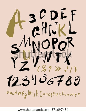 Alphabet letters lowercase, uppercase and numbers. Vector alphabet. Hand drawn letters. Letters of the alphabet written with a paint brush. gold, black and pink color combination. - stock vector