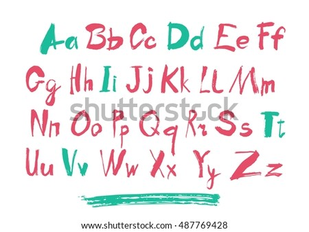 Alphabet letters lowercase, uppercase and numbers. Vector alphabet. Hand drawn letters. Letters of the alphabet written with a paint brush.