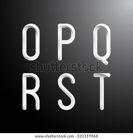 Alphabet letters O,P,Q,R,S,T. Thin fonts.Vector illustration - stock vector