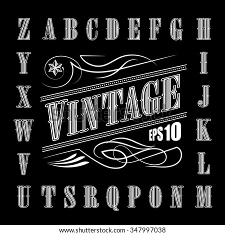 Alphabet Letters Vintage Set Western Vector - stock vector