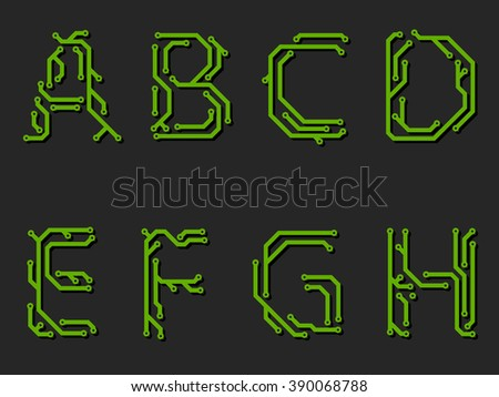 Alphabet made from printed circuit board -first part - stock vector