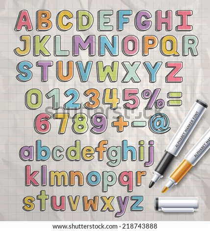 Alphabet marker colorful doodle font style. Vector illustration. - stock vector
