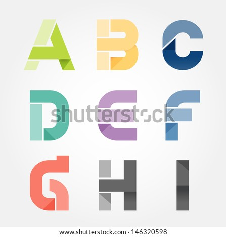alphabet modern paper cut abstract style Design. Vector illustration. - stock vector