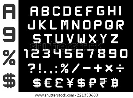 alphabet, numbers, currency and symbols pack - rectangular basic font, vector