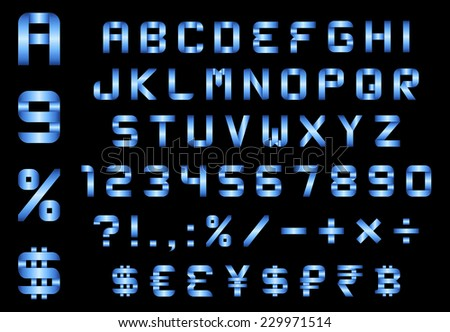 alphabet, numbers, currency and symbols pack - rectangular bent blue metal font - stock vector