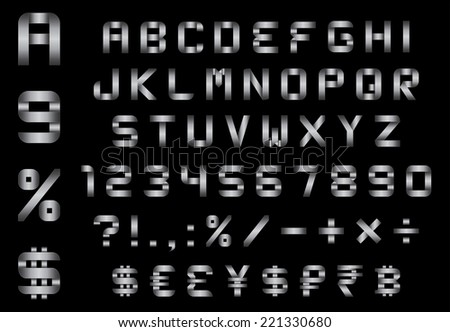 alphabet, numbers, currency and symbols pack - rectangular bent metal font, vector
