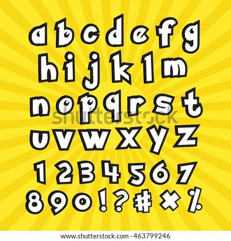 Go Style Template | Alphabet Numbers Pokemon Go Cartoon Style Vector De Stock463799246