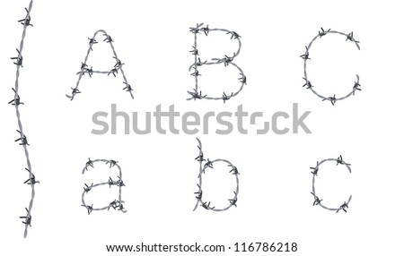 Alphabet of barbed wire, font, letters A B C, very detailed - stock vector