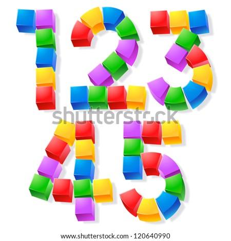 Alphabet of children's blocks. Vector illustration of funny cube font. Letters 12345 - stock vector