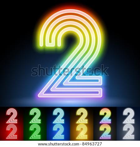 Alphabet of neon tubes. letter 2 - stock vector