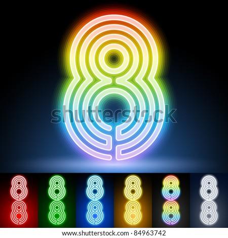 Alphabet of neon tubes. letter 8 - stock vector
